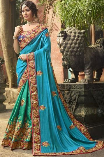 Bridal lehengas in double and triple contrasts: The other growing fashion in current time is the contrasted or different in colour lehengas.