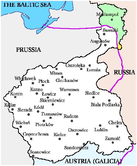 The map shows the territory of the Kingdom of Poland before WWI. The pink line is the post-wwii border between Poland and its eastern neighbors.