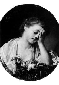 Fig. 1: Jean Baptist Greuze, La jeune fille qui pleure son oiseau mort. breast, as if tucked inside her blouse, Her elbow is leaning on a cage on which there is a dead bird.