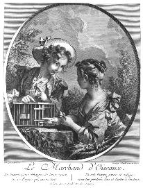 Fig. 7: Francois Boucher, Le Marchand d'oiseau. a bird, birds in a nest or in a cage, appear again and again.