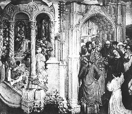Fig. 2: Robert Campin, Betrothal of the Virgin, Madrid, Prado, c. 1427. the pre-christian and the New Christian eras.