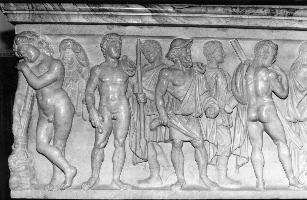 Fig. 2: Saint Aignan Sarcophagus (left section, front panel). Photo by author.
