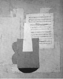 Fig. 4: Picasso, Violin and Sheet Music, 1912, Pasted paper on cardboard, 78 x 65 cm, Musée Picasso, Paris. perception of the object, a solution that he had found during the creation of Guitar.