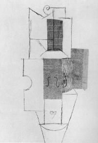 Fig. 5: Picasso, Violin, 1912, Pasted paper, charcoal and watercolor, 62.5 x 48 cm, Alsdorf Foundation, Chicago. collage or papier collé.