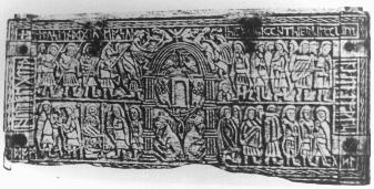 Fig. 6: Northumbria, Franks Casket, whalebone chest. differences in the background featuring the Temple. On the chair panel Leclercq identifies in the background the Temple colonnade.