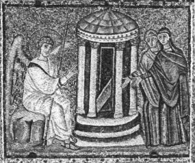 Fig. 2: Ravenna, St.' Apollinare Nuovo. Nave Mosaic. Holy woment at the tomb. the vita activa.