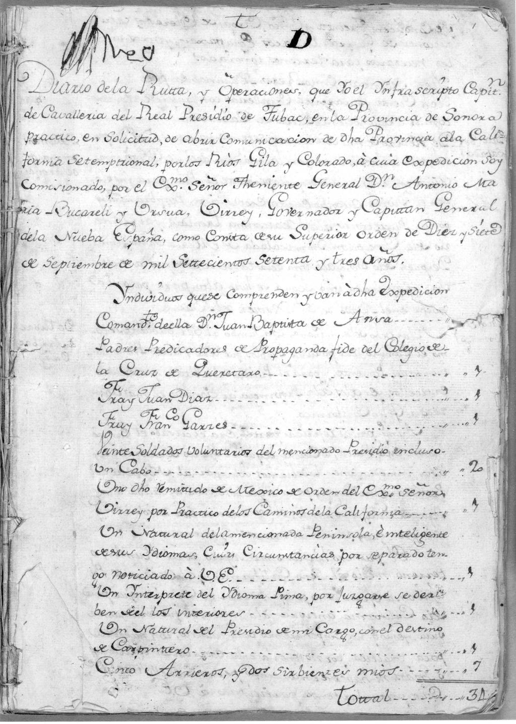 Document 4 FIRST PAGE OF ANZA S DIARY OF THE JOURNEY TO SAN GABRIEL,
