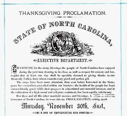 1882 North Carolina Proclamation by Governor Thomas J.