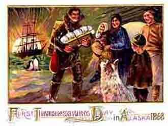 "The elements depicted in ""Frontier Thanksgivings"" mirror the elements"