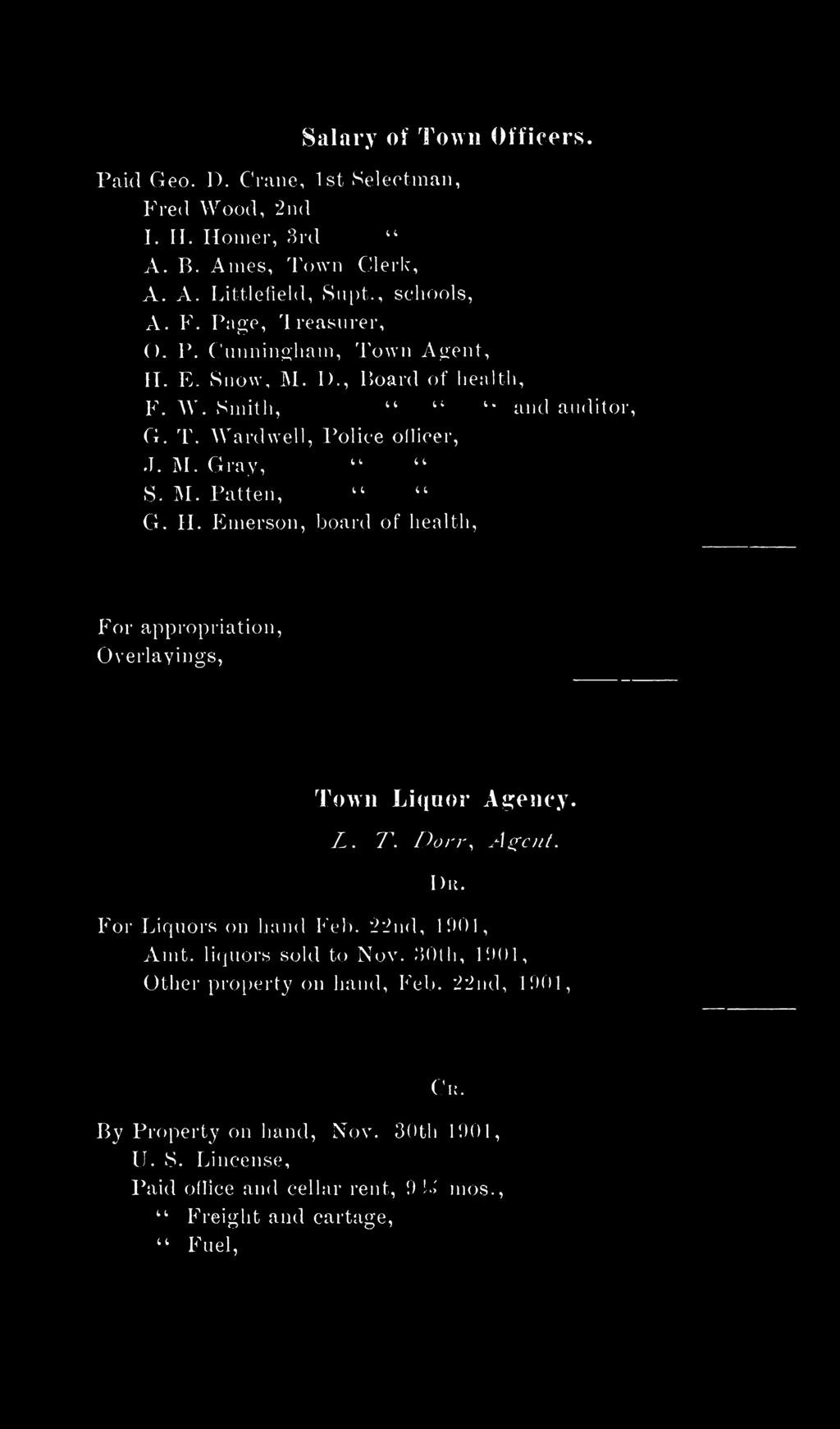 E inerson, board of health, For appropriation, Overlayings, Town Liquor Agency. L. T. Dorr, Agent. I ) 11. For Liquors on hand Feb. 22nd, 1901, Amt. liquors sold to Nov.