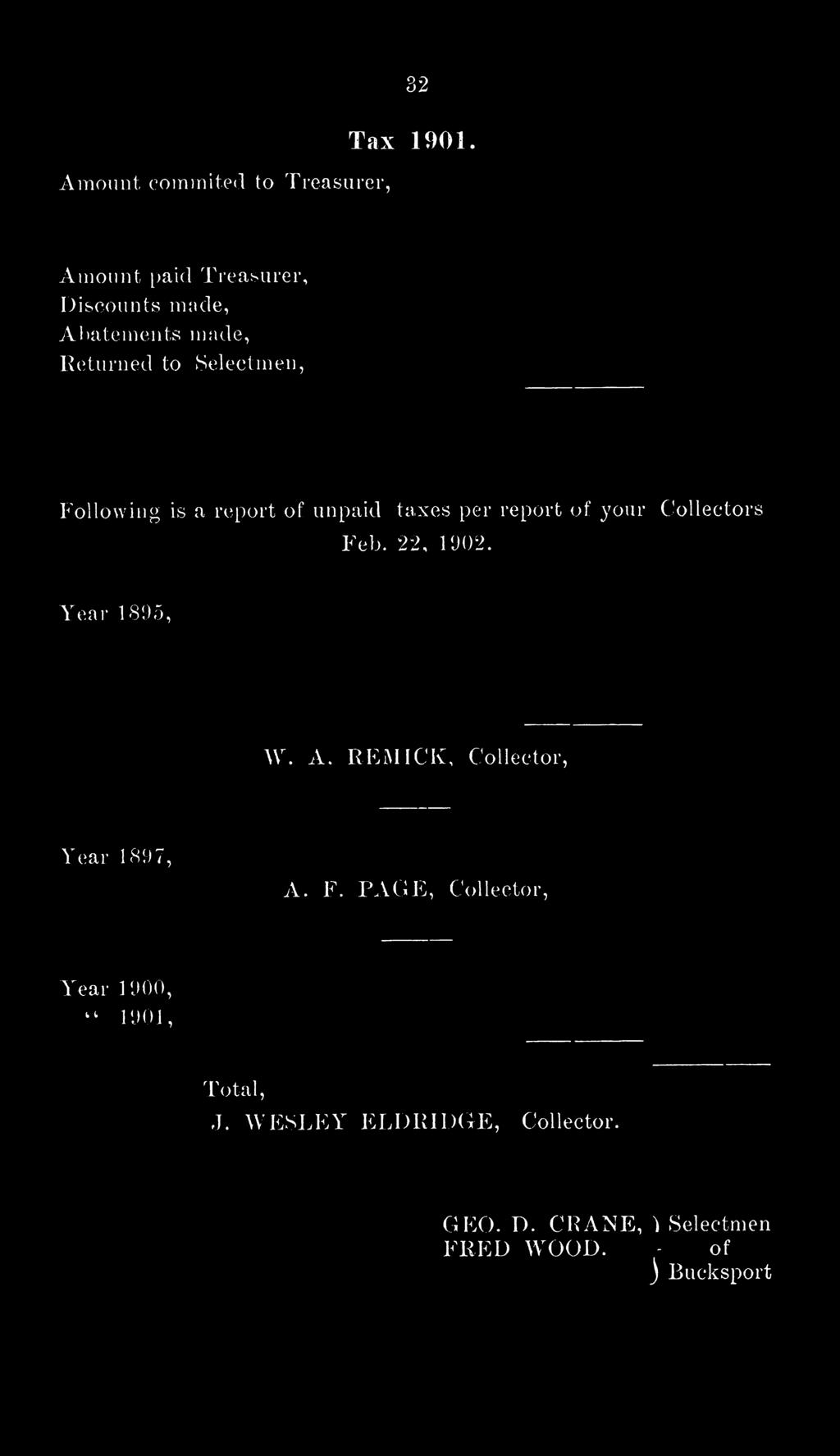 report of unpaid taxes per report of your Collectors Feb. 22, 1902. Year 1893, W. A.