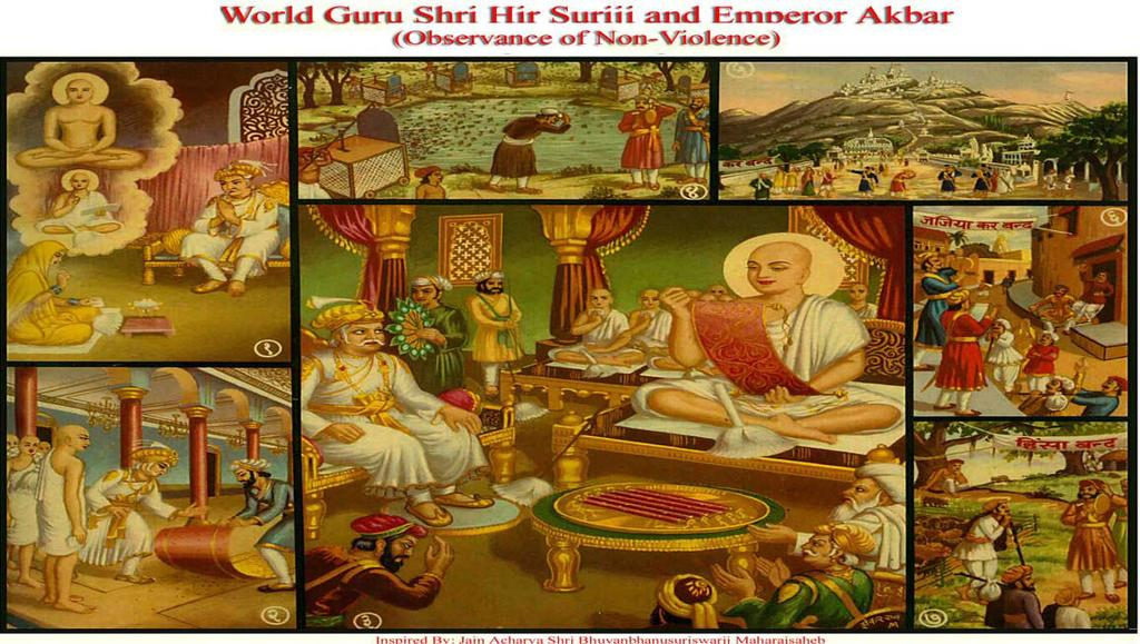 [12] GREAT GURU SHRI HIRSURIJI & EMPEROR AKBAR (Observance of Non-Violence) (1) In Delhi, Jain Shravika, named Champa had fasted 6 months. When this news reached the Emperor Akbar, he was surprised.