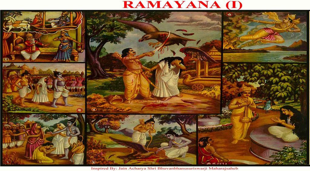 [25] RAMAYANA (1) (Obeying father s word) (1) Queen Kaikai put garland around King Dashrath so all kings became his enemies and they fought with him.
