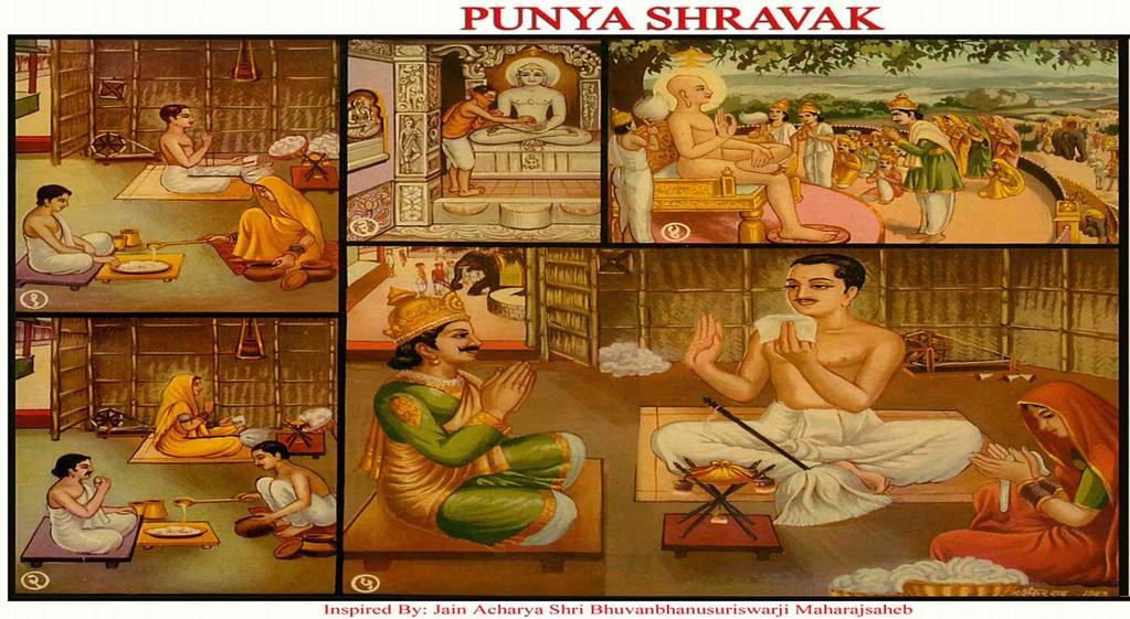 [4] PUNYA SHRAVAK (Content and Religious Devotion) (1) In the province of Rajgrahi, a religious Jain named Punya was living with his wife.