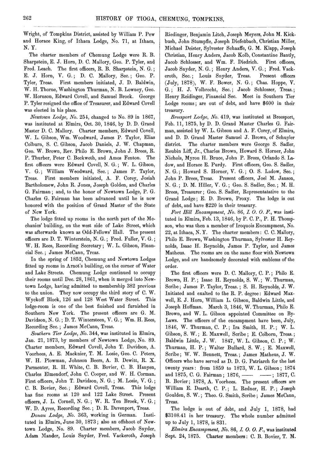 262 HISTORY OF TIOGA, CHEMUNG, TOMPKINS, Wright, of Tompkins District, assisted by William P. Pew Horace King, of Ithaca Lodge, No. 71, at Ithaca, N. Y. The charter members of Chemung Lodge were R. B.