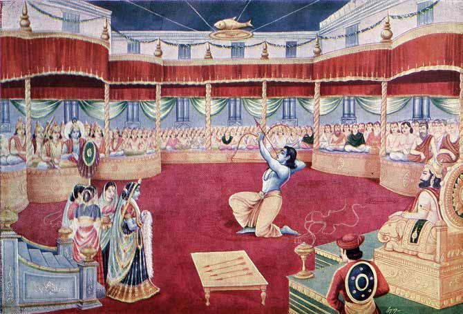 Arjuna accomplishes the task and wins Draupadi in Svayamvara Sabha. continued from p. 13 there was no freedom of the bride.