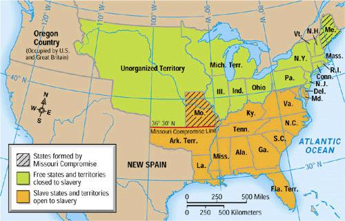 The Missouri Compromise of 1820 To keep the balance