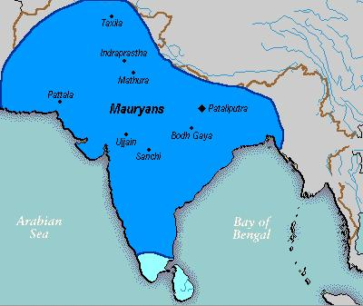 7.3.3.1 The Kalinga War Fig 7.2 Mauryan Empire under Asoka During his father's reign Asoka served as a Viceroy at Ujjain and also at Taxila.