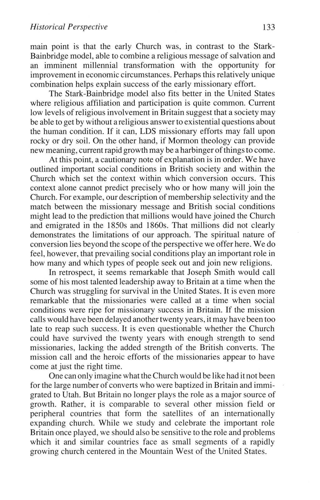 historical perspective 133 main point is that the early church was in contrast to the stark bainbridge model able to combine a religious message of salvation and an imminent millennial transformation