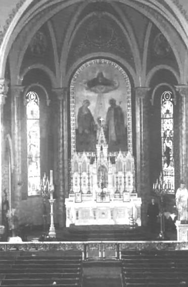 In the same year, on October 1, 1885, Patrick Mullin presented the great crucifix which adorns the sidewall at St. Joseph's Chapel and which has recently brought visitors back with cameras.