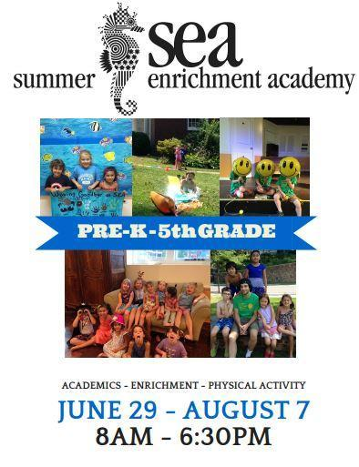 SUMMER ENRICHMENT ACADEMY SEA OPEN HOUSE Monday, APRIL 20th 5:30pm-7:30pm Fellowship Hall @ Community Church of Douglaston Click on the picture to download the full registration packet.