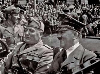 GROWING UP IN PARADISE 37 Adolf Hitler (right) rides in a motorcade with Italian dictator Benito Mussolini in Munich, Germany, in 1940.