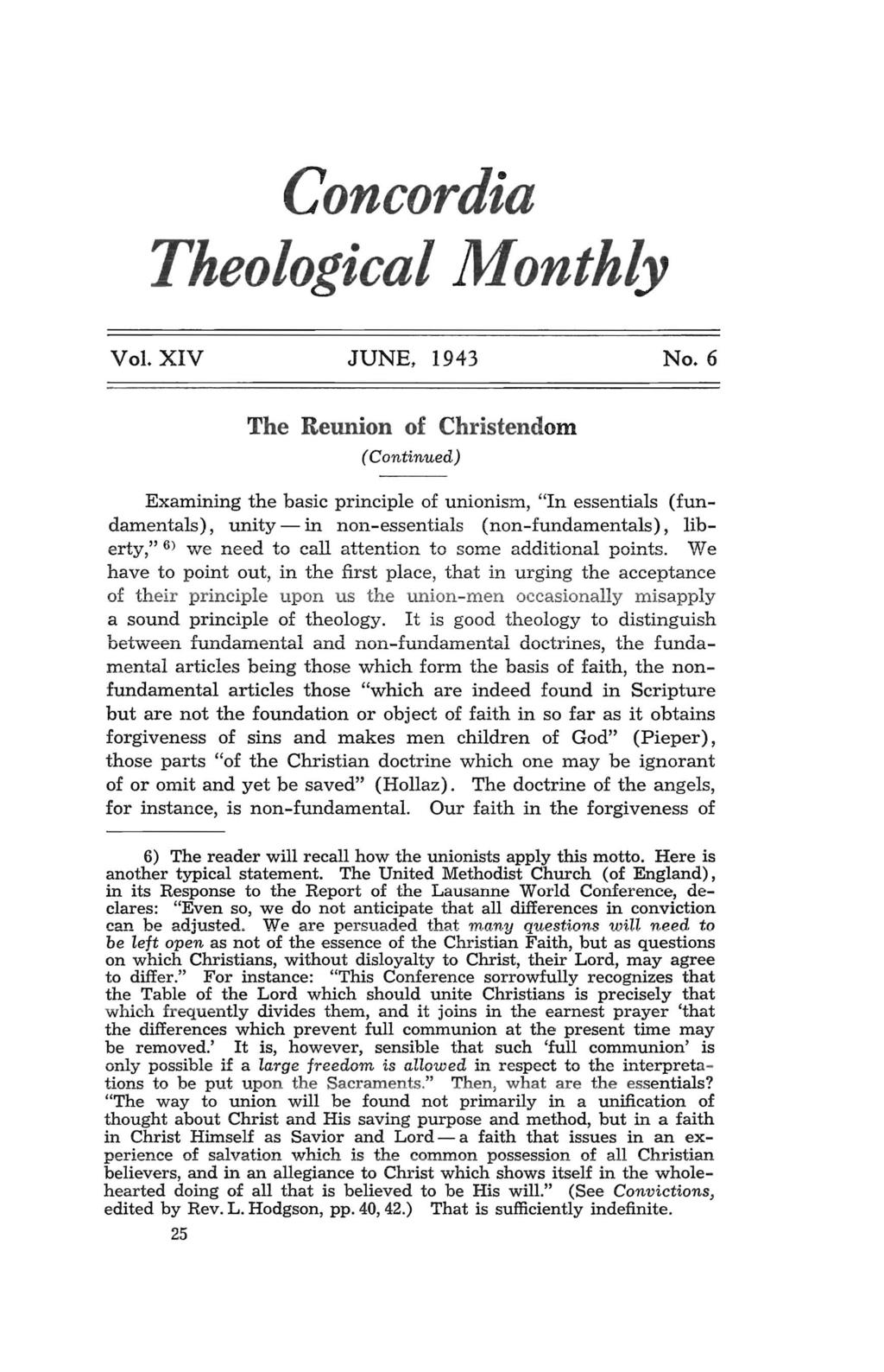 Concordia Theological Monthly Vol. XIV JUNE, 1943 No.