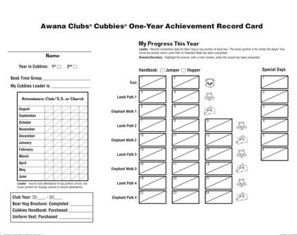 Sparks Name of handbook: HangGlider Form: Awana Sparks One-Year Achievement Record Card Recording: Record the completion date for each section in the center of card, under Handbook Sections.
