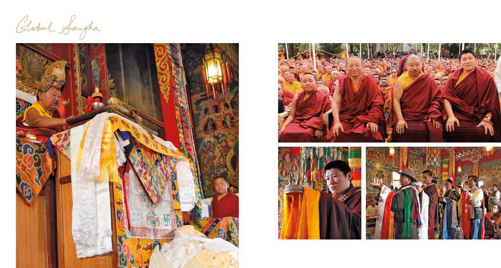 GENUINE ROOTS PROGRAM Above: Kyabje Tulku Urgyen Yangsi Rinpoche looking on while Kyabje Chokling Rinpoche reads from the empowerment text; Opposite page, clockwise from top: (from left) Kyabje Tulku