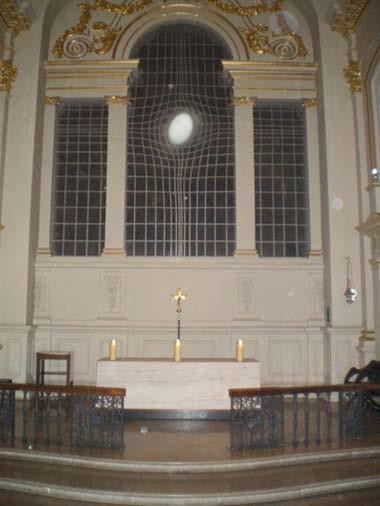Fig 21 Window and altar on the night of installation Further research could include people attending public concerts.