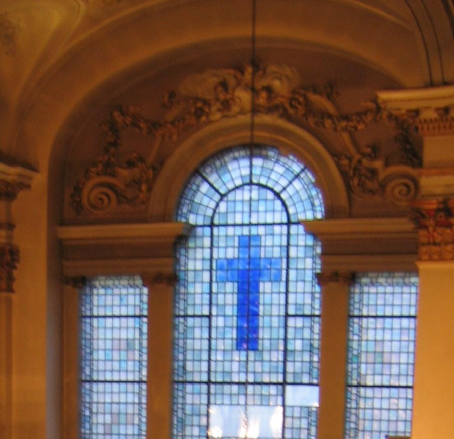 Fig 3 Former blue east window The new window had to work with the existing architectural constraints and renovations to the building and within the church s theological and cultural aspirations