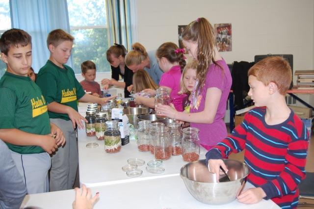 The Sunday School students filled those donated mason jars with cookie and soup mixes on our first day back to class.