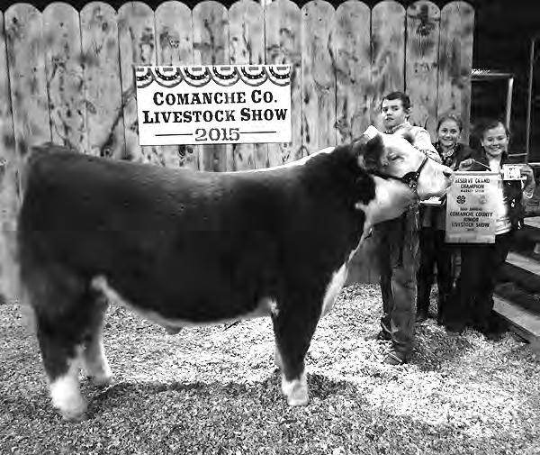 DeLeon Free Press/ Thursday, January, 0/ Page st Place Duroc Market Swine at the shown by Landon Stephens Comanche County Tractor Inc Reserve Grand Champion Market Steer at the shown by Slade Gooden,