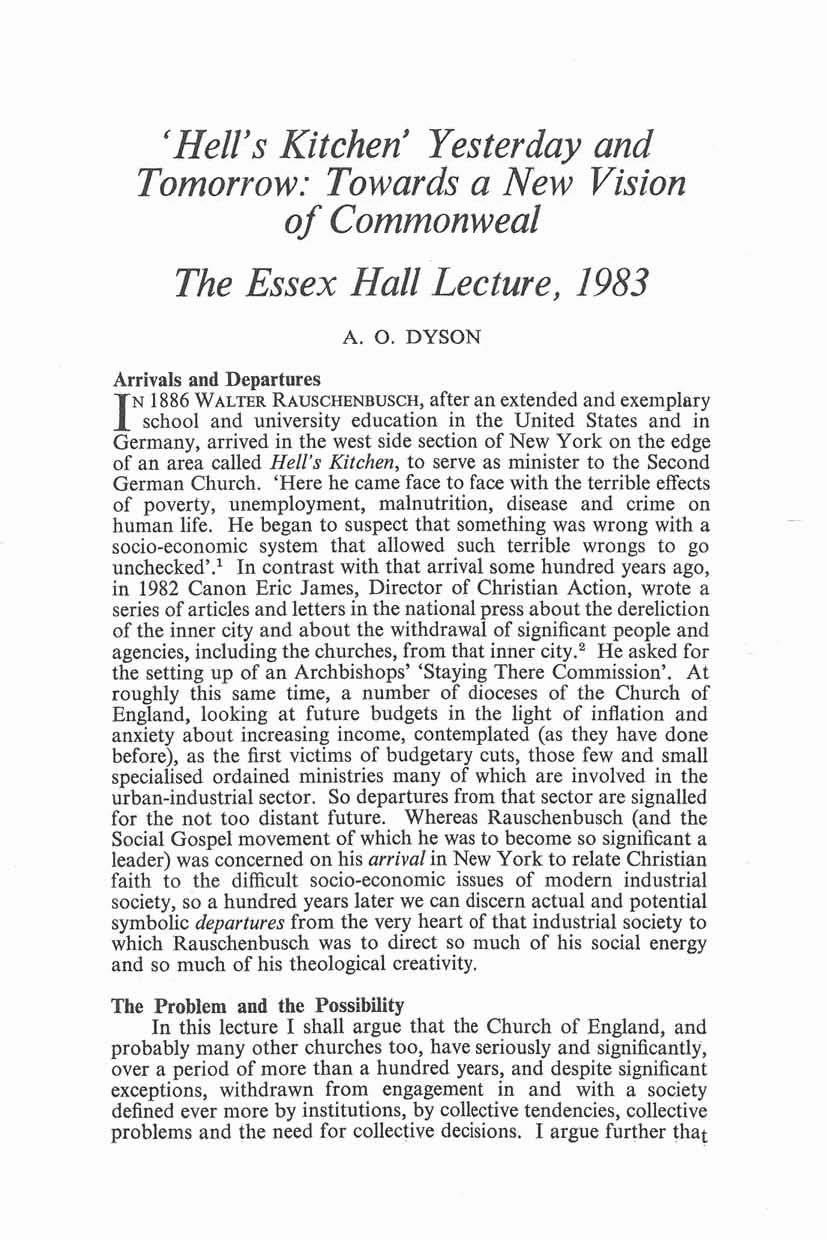 'Hell's Kitchen' Yesterday and Tomorrow: Towards a New Vision of Commonweal The Essex Hall Lecture, 1983 A. 0.