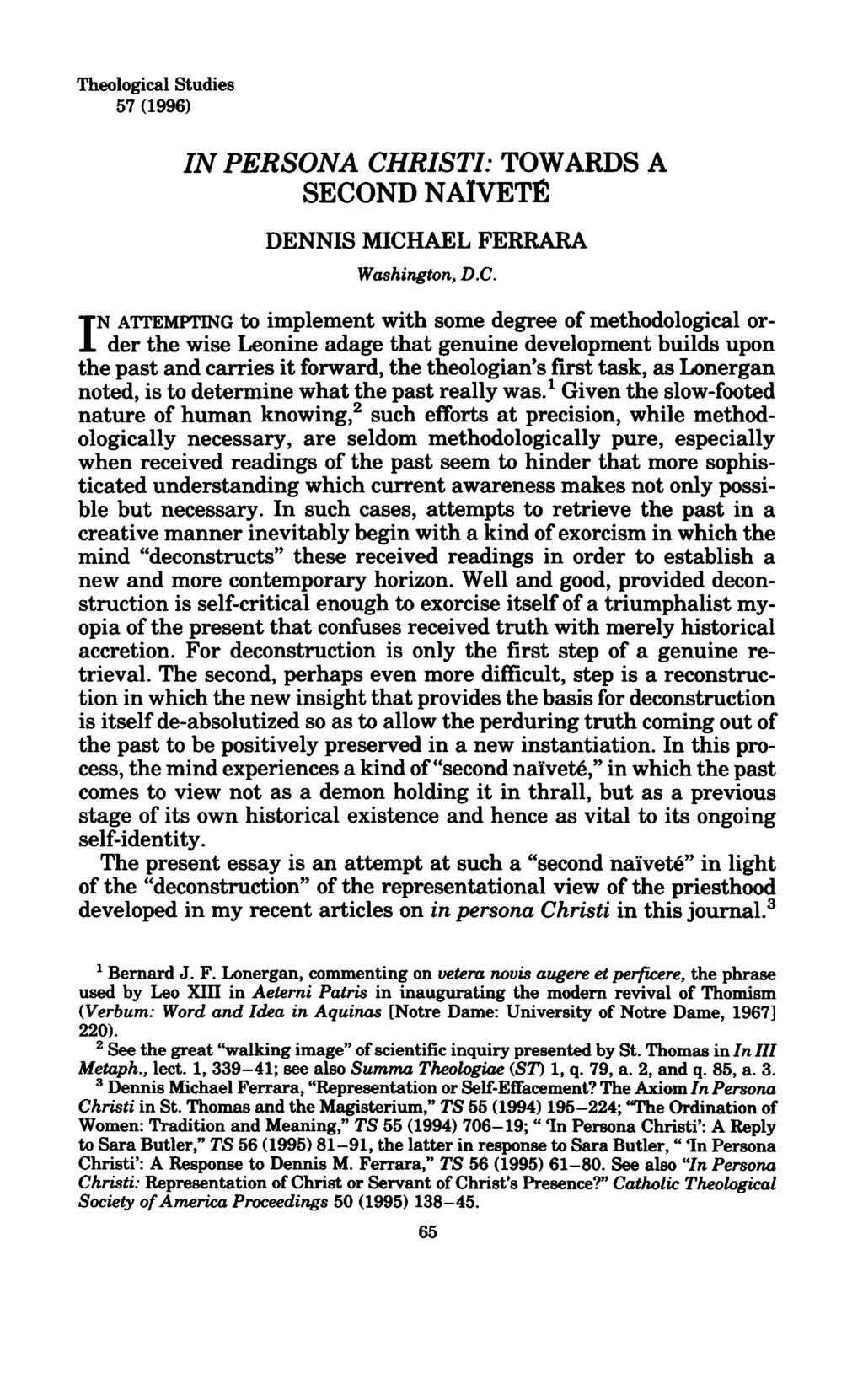 Theological Studies 57 (1996) IN PERSONA CH