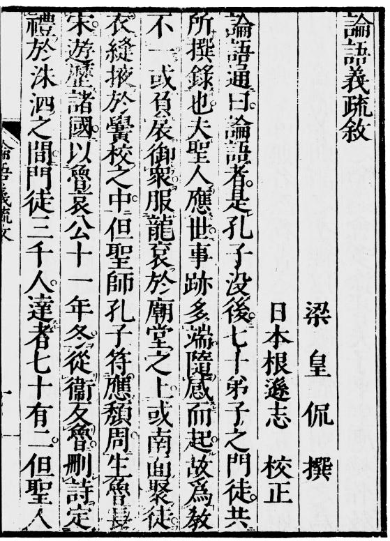 66 Monumenta Nipponica 64:1 (2009) Figure 3. The first page of Nemoto s edition of Huang Kan s Preface to Lunyu yishu (1750 edition).
