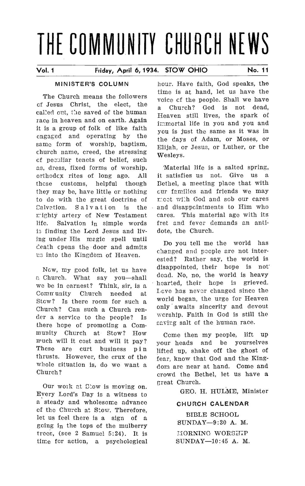 THE COMMUNITY -CHURCH NEWS Vol. 1 Friday, April 13, 1934. STOW OHIO No.