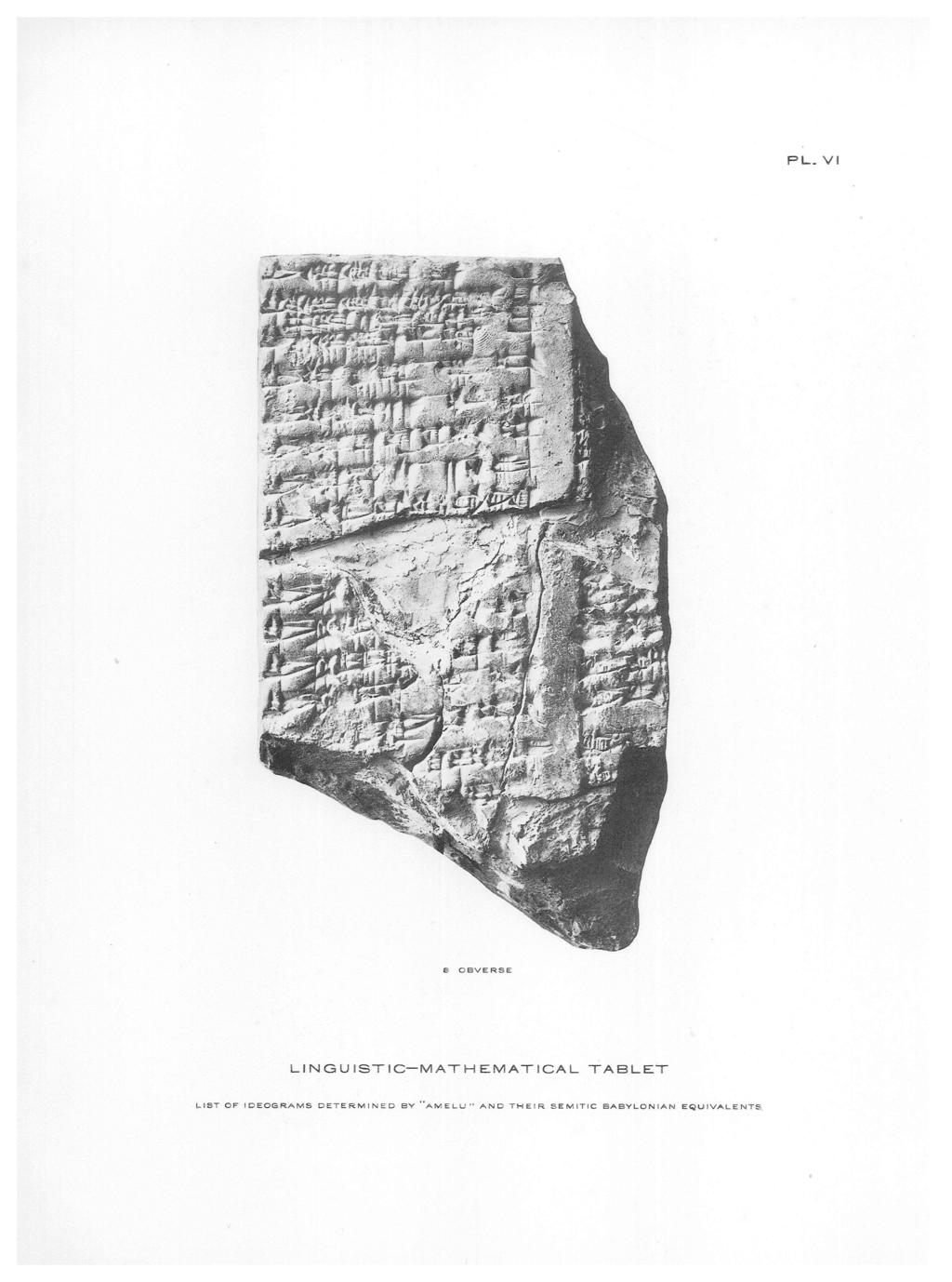 PL VI 8 OBVERSE LINGUISTIC-MATHEMATICAL TABLET LIST OF