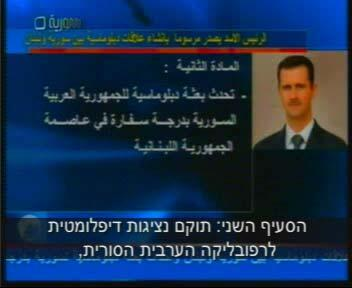relations with Lebanon and an analysis of its implications President Bashar Assad announcing