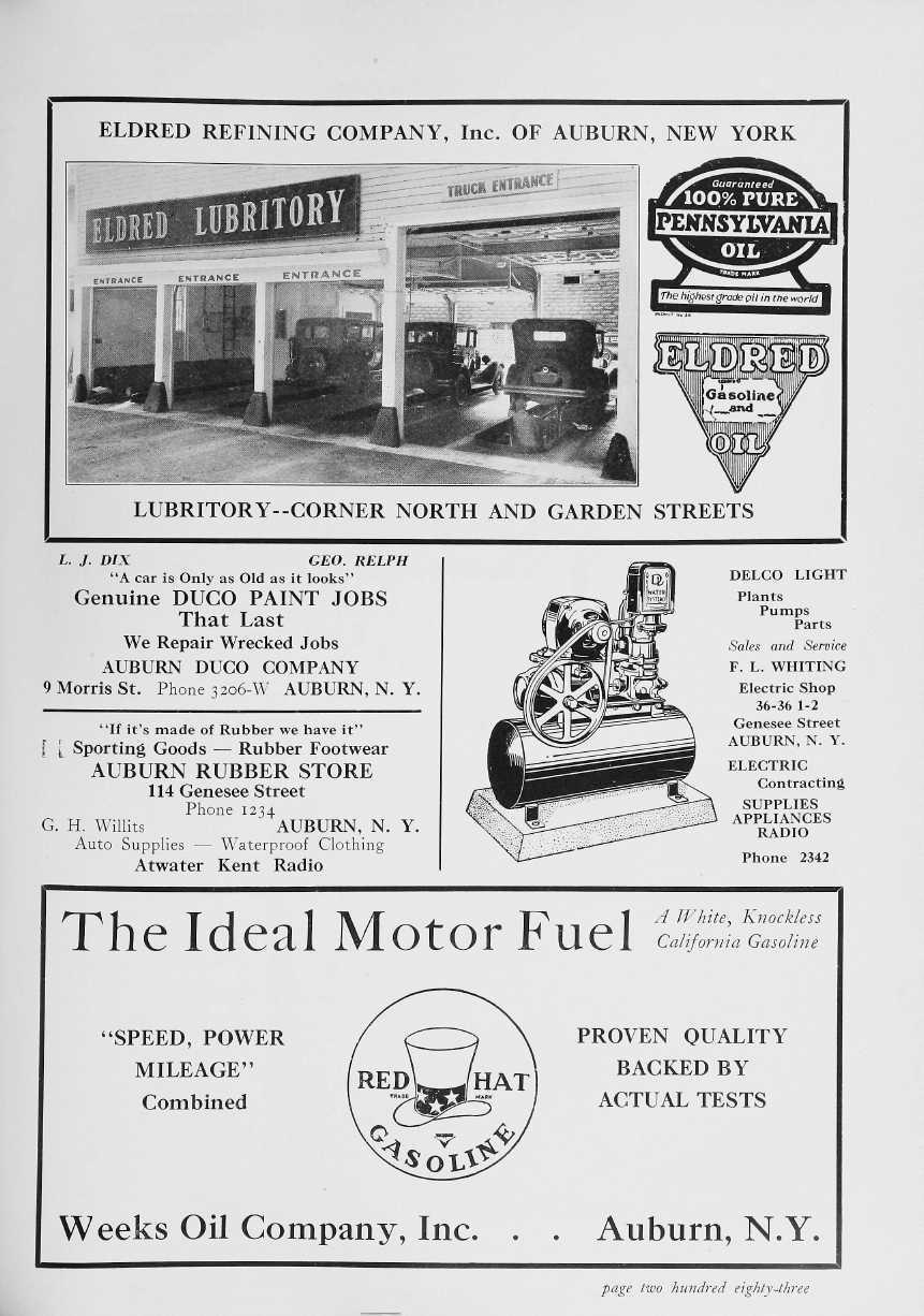 ELDRED REFINING COMPANY, Inc. OF AUBURN, NEW YORK 141. PENNSYLVANIA LUBRITORY--CORNER NORTH AND GARDEN STREETS L. J. DIX GEO.