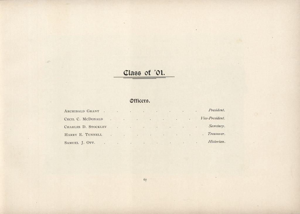 Class of 01. Officers ARCHIBALD GRANT. CECIL C. MCDONALD CHARLES D. STOCKLEY HARRY E.