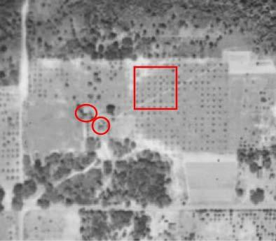 Figure 5.2. 1943 aerial of the Pine Level site. Red circles indicate the locations of buildings; the red box indicates where the 1876 courthouse should have been located. (Tile 152, George A.