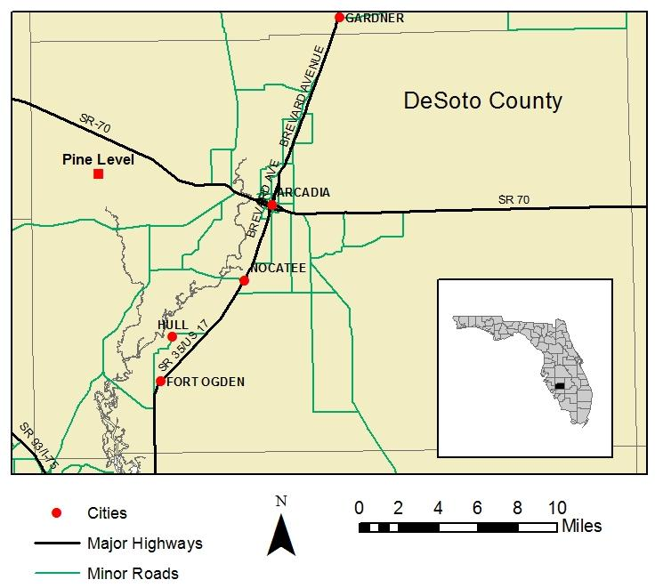 Figure 1.1. Map of DeSoto County showing the location of the Pine Level site. buffs for field days.