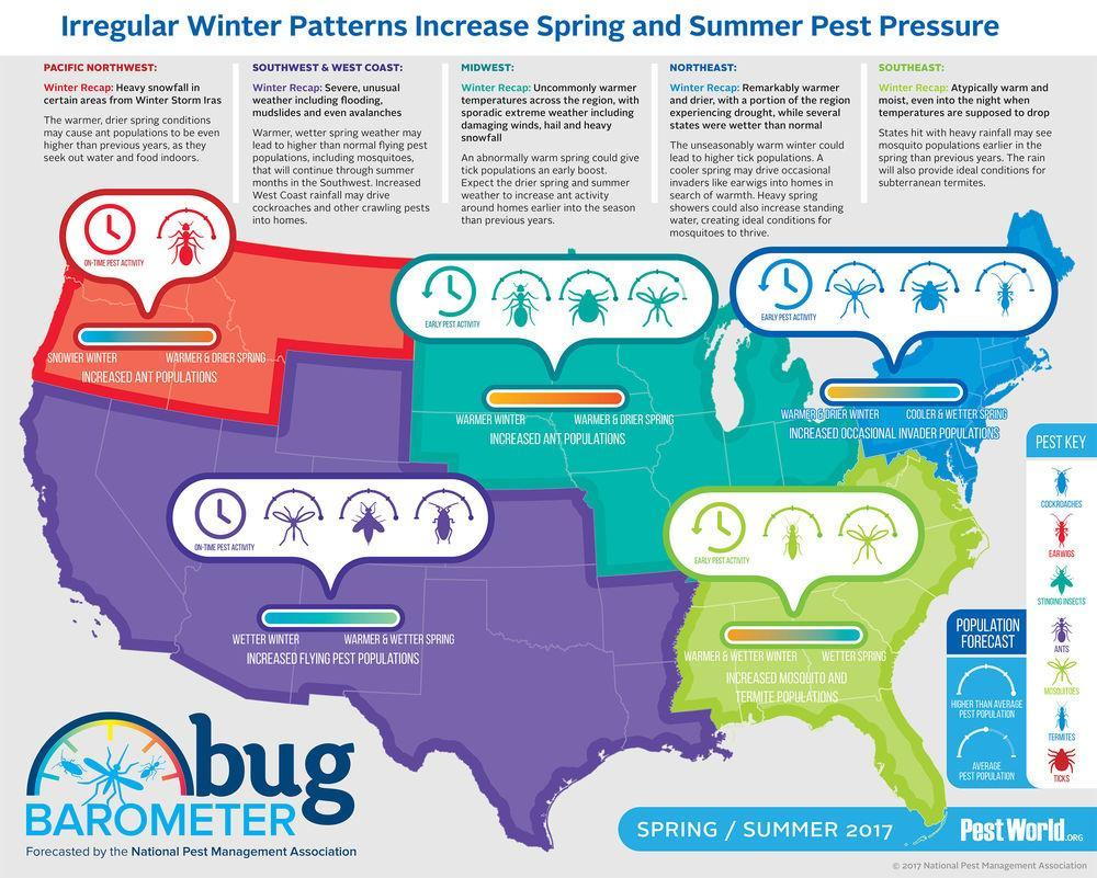 National Pest Management Association This year's Bug Barometer predicts bugs a lot of them. You may have loved this winter s unusually warm weather, but guess what so did many insects.