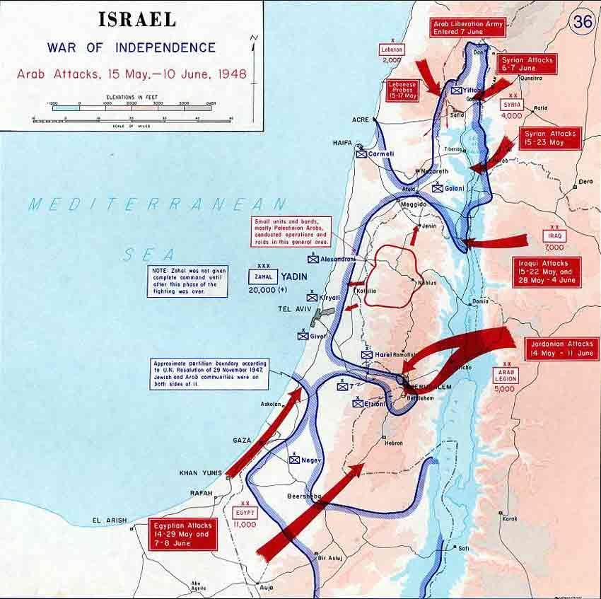 1948 Arab Invasion plans of Israel ( in red.