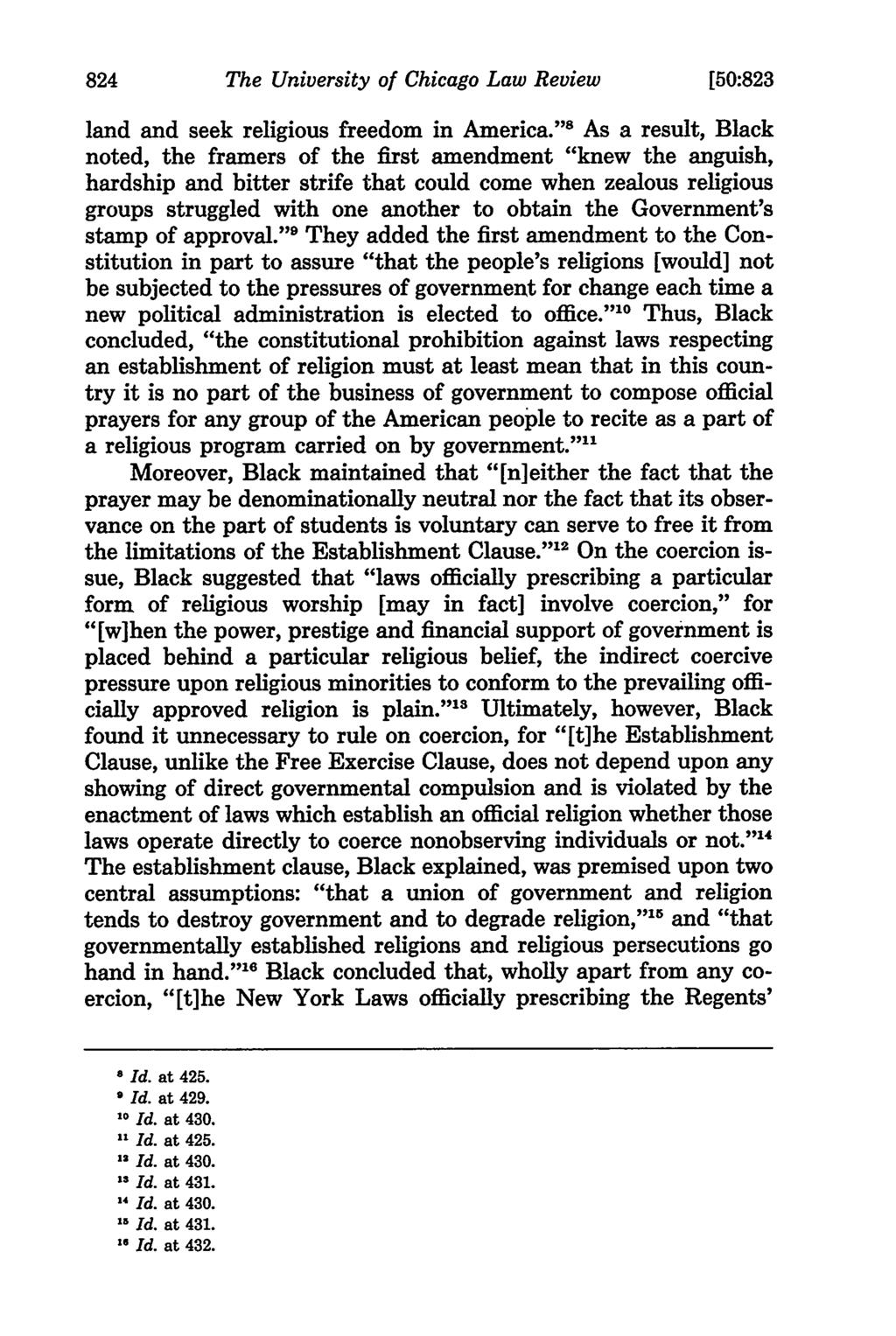 The University of Chicago Law Review [50:823 land and seek religious freedom in America.