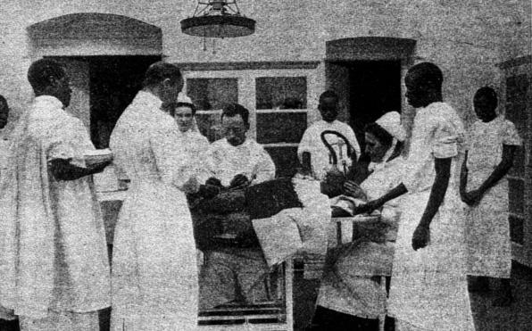 The first photo shows Albert Cook with outpatients, three of whom are from the Indian community in Uganda.