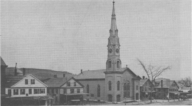 Unitarian Church remodeled 1867-68 Washington Street, together with the house that later was used as a parsonage, was purchased and plans for a new church were drawn by Edwin J. Lewis Jr. of Boston.