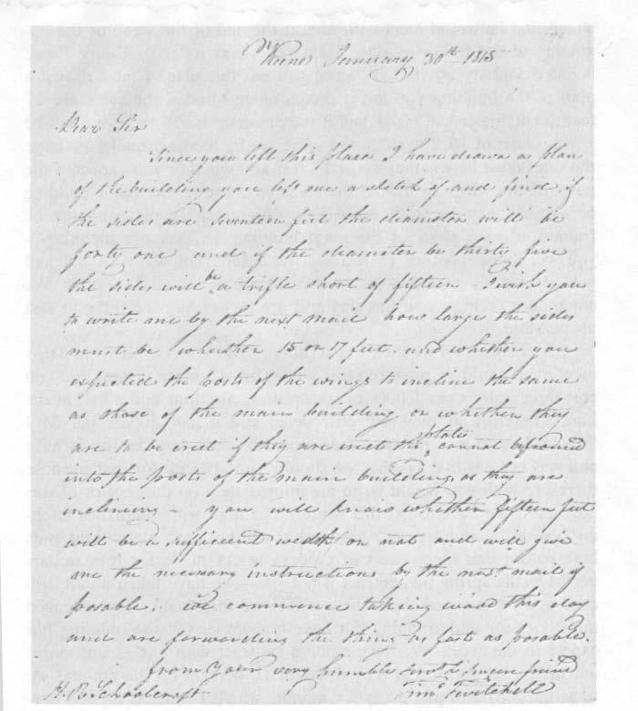 Letter from Timothy Twitchell to H. R. Schoolcraft erect the works substantial and with economy. I was led to think of you from conversation with Mr.