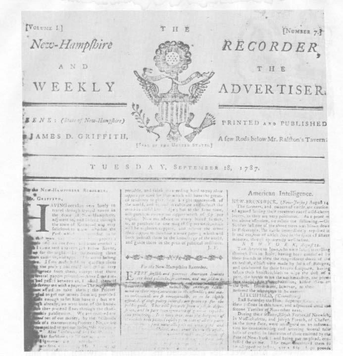 Keene's first newspaper earned, however, the distinction of becoming the first printer in southwestern New Hampshire and of making Keene the fifth printing center in the state.